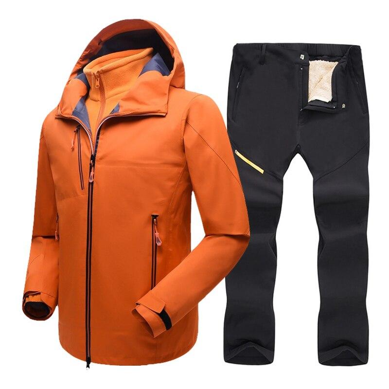 Лыжный костюм 2 в 1, Мужская брендовая зимняя ветрозащитная Водонепроницаемая термокуртка и брюки, уличная спортивная сноубордическая лыжн...
