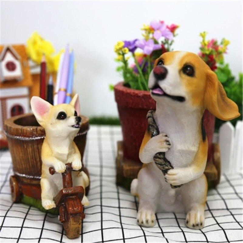 Simulación Animal perro lindo cachorro estatua Chihuahua y Beagles individualidad lápiz florero resina hogar Decoración figura de acción juguete P1794