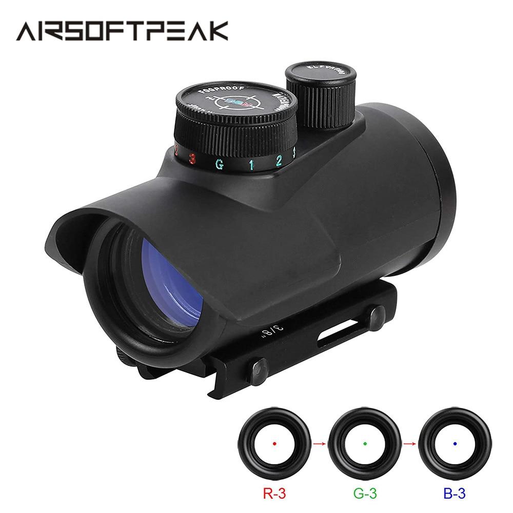 Punto Rojo Airsoft vista holográfica 1x30mm 11mm y 20mm Weaver montaje riel Picatinny Rifle vista caza tiro 3 colores
