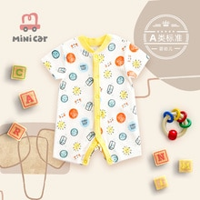 Baby clothes one-piece summer male baby short-sleeved open-file romper thin climbing cardigan