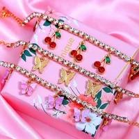 jjfoucs boho rhinestones tennis chain anklet cute stars cherry butterfly anklet girls 2020 fashion summer beach foot jewelry