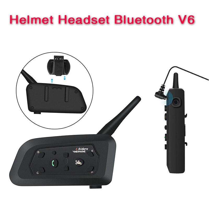 V6 Intercom Helmet Bluetooth Headset Intercomunicador Moto Bluetooth Motorcycle Intercomunicador 6 Riders MP3 GPS Intercom Moto