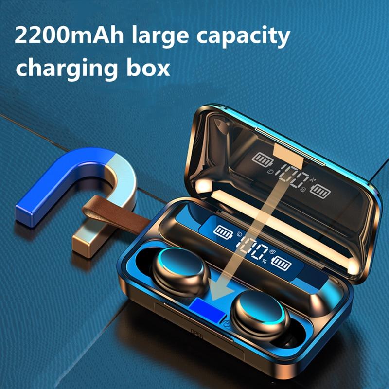 NEW TWS Bluetooth 5.0 Earphones 2200mAh Charging Box Wireless Headphone 9D Stereo Sports Waterproof