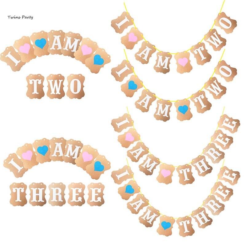 Twins 1st 2nd 3rd Birthday Banner I Am One Two Three Kraft Paper Banner Boy Girl Birthday Party Decoration First Birthday Banner