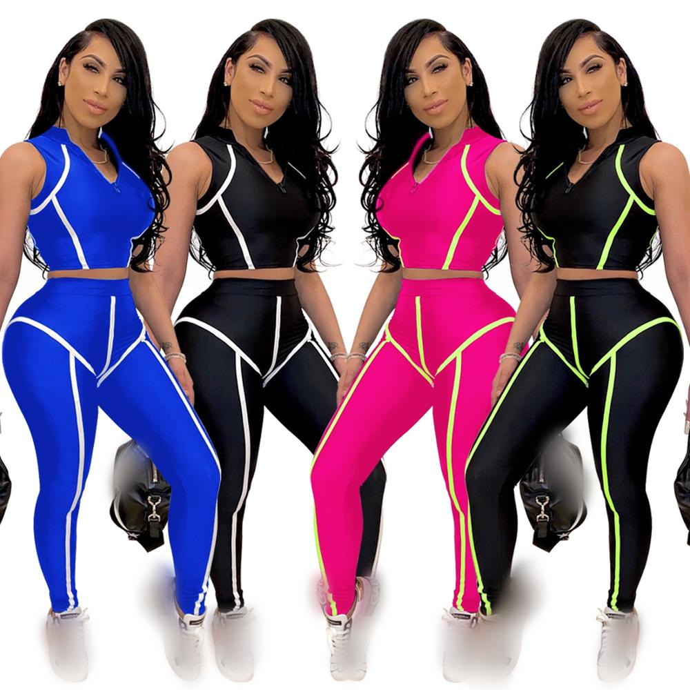 Fashion Streetwear Pants Set Women Bodycon Suit Female 2 Piece Outfits Sweatsuit Patchwork Tracksuit Women Summer Two Piece Sets