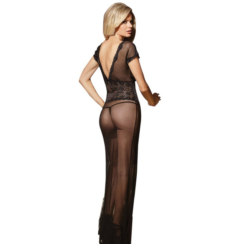 Sexy largo vestido de noche transparente vestido noche vestido camisón ropa de dormir ropa interior de las mujeres más