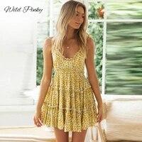 wildpinky 2021 new floral print ruffles sleeveless women mini dress v neck summer holiday ladies dresses beach sundress vestidos