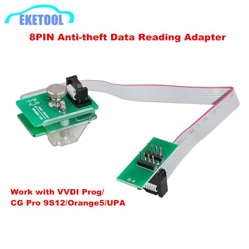 8Pin Adapter Anti-theft Data Reading Adapter Work with VVDI Prog/CG Pro 9S12/Orange5/Iprog For BMW FEM-BDC 95128/95256 etc