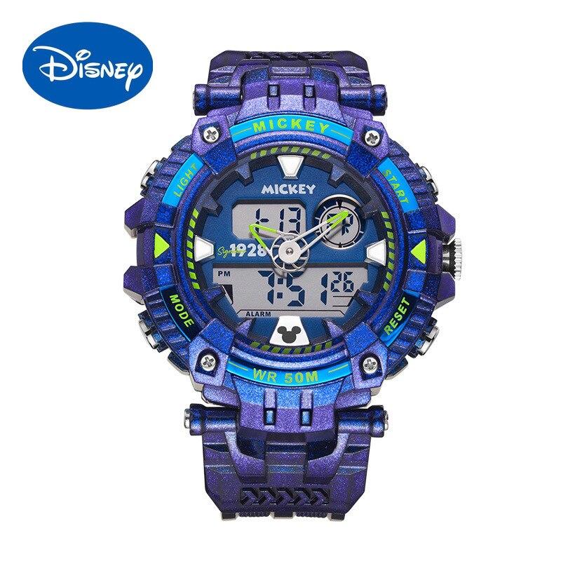 Оригинальные Водонепроницаемые мужские часы Disney, светящиеся спортивные электронные часы для мальчиков, мужские студенческие водонепрониц...