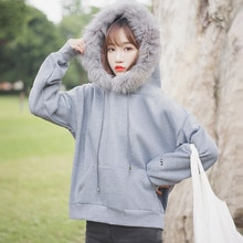 Chic Khaki  Autumn and Winter New Korean Style Fur Collar Pocket Velvet Padded Hooded Sweatshirt Wom