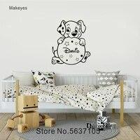 Makeyes     autocollant mural de chiens mignons  etiquette personnalisee avec nom de bebe  animaux  decor mural pour la maison  chambre denfants  decor doux Q327