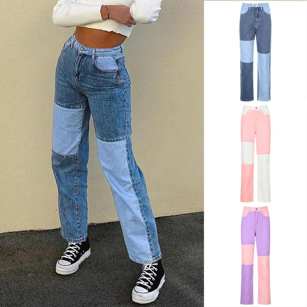 Womens Fashion Casual Matching Matching Color block Fashion Trousers Jeans Color block Straight-Leg