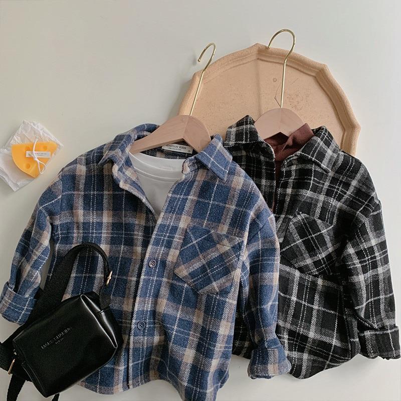 Outono inverno meninos meninas de lã xadrez camisas crianças moda casual quente topos outerwear
