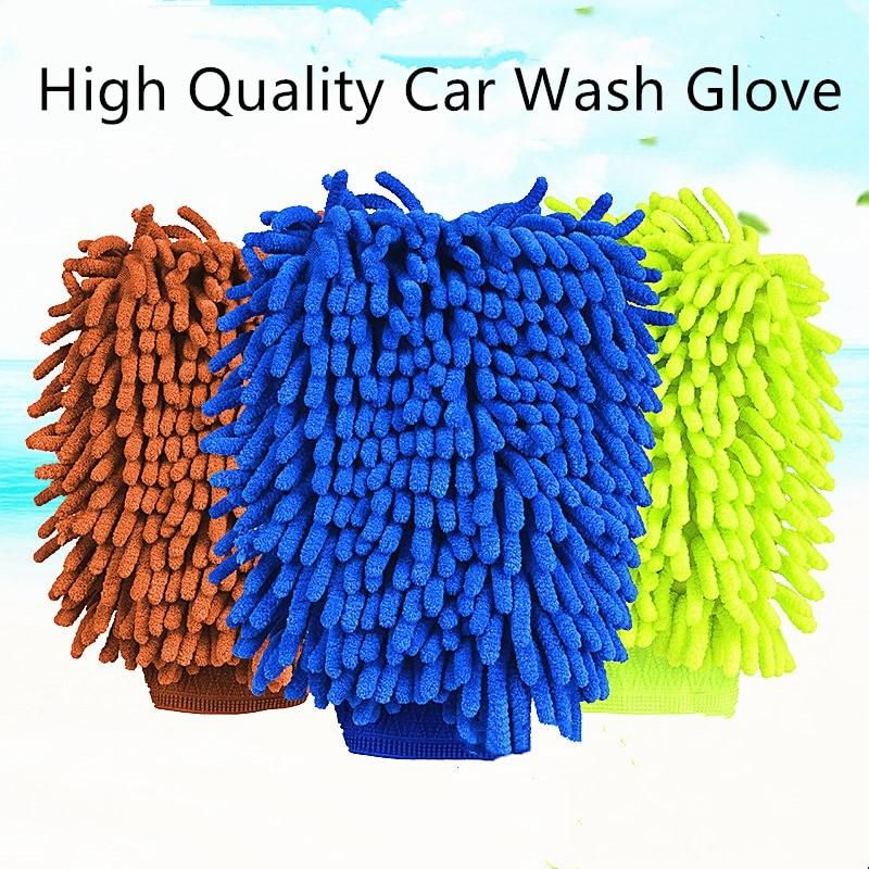 1 pc lavagem de carro luva ultrafina fibra chenille microfibra ferramenta de cuidados automóveis de secagem de limpeza doméstica janela lavagem luva absorvência