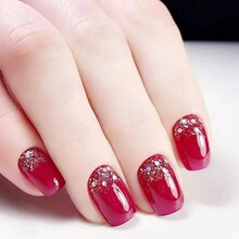 24pcs Fake Nails Sticks Red Nails Root Glitter Short Fake Nails Bead Patch For Women Nail Art Tool F