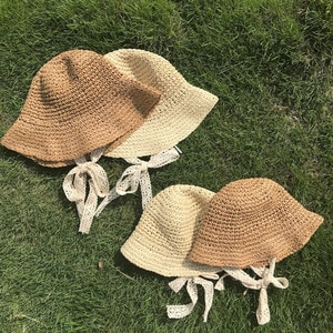 Children's Panama Hats Girl Cap Handmade Lace Knitted Sunhat Baby Photography Accessories Baby And Mom Summer Hats And Caps