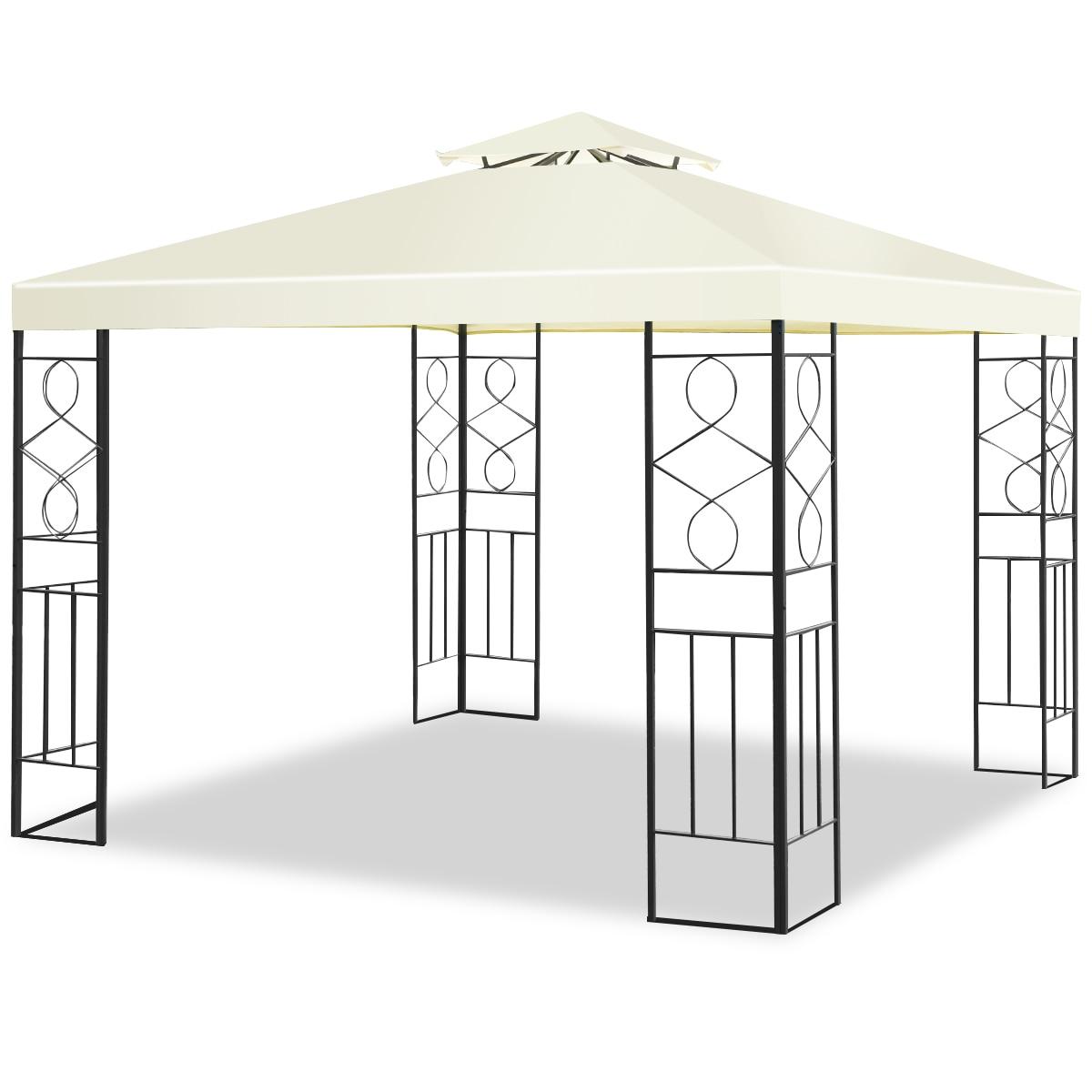 Toldo de marco de acero para tienda de campaña Gazebo de Patio Costway 2 niveles 10 'x 10'