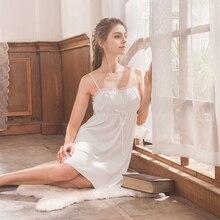 Roseheart femmes mode blanc Sexy Homewear vêtements de nuit Spaghetti sangle robe de nuit dentelle vêtement de nuit, chemise de nuit robe S M L XL