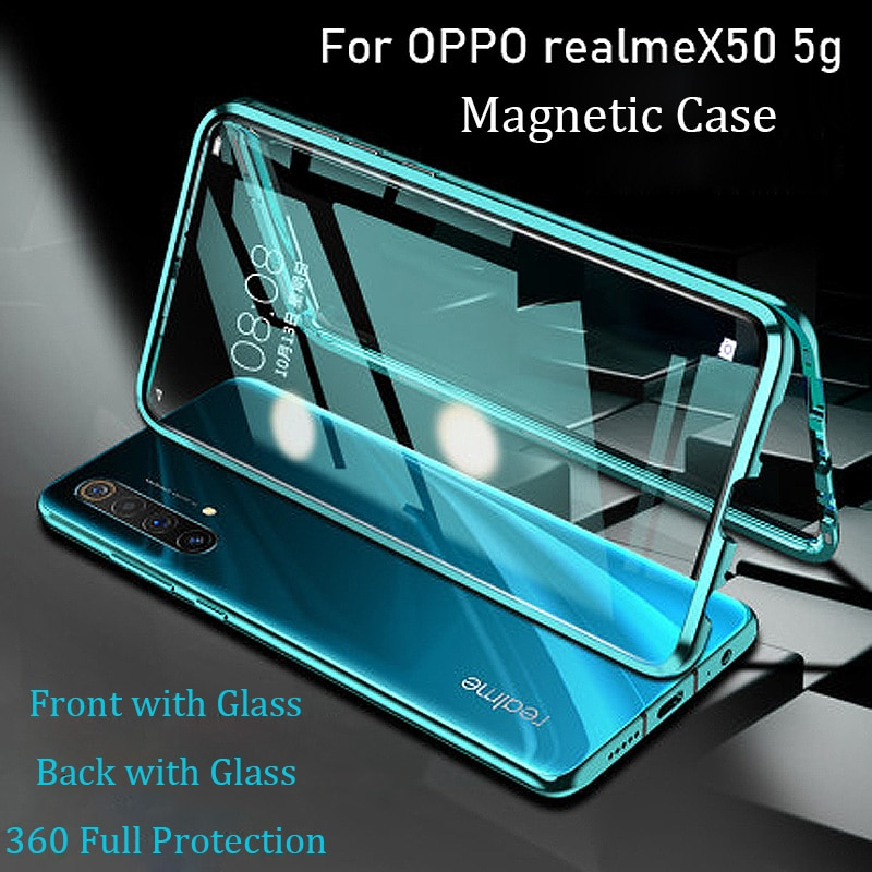 Para OPPO Realme X50 5G Funda magnética 360 frontal + trasero funda de vidrio templado de doble cara 9H para Realme X50 5G funda de parachoques de Metal