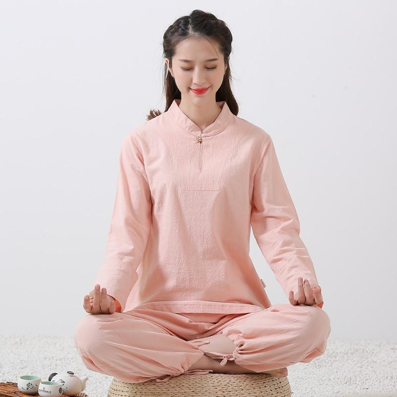 Женская униформа для йоги из хлопка и льна, 4 цвета|Наборы| | АлиЭкспресс
