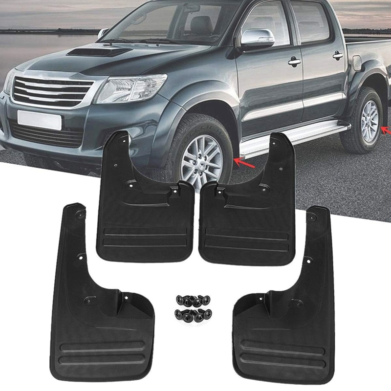 4X Front & Rear Mud Flaps Splash Guards-Fender for Toyota Hilux Vigo 2005 - 2014 Plastic Direct Bolt Installation Exterior Parts