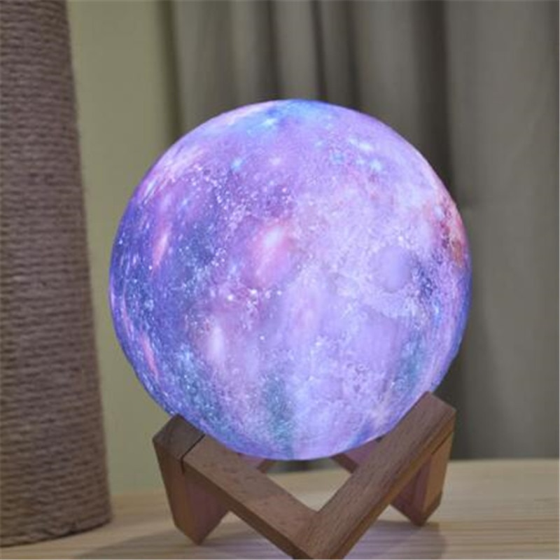 3D Print Galaxy Moon Night Lamp Colorful Change  Dropship 16 Colors New Arrival Touch Led Night Light Home Decor Creative Gift 2019 new arrival dropship hot dragon egg night light as gift for night lamp in room light