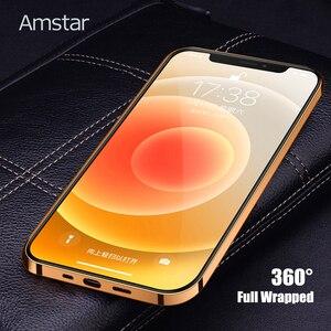 Image 5 - Чехол Amstar из натуральной воловьей кожи для телефона iPhone 12, 11 Pro Max, 12 Mini, X, XR, XS Max, полностью закрытый чехол с золотистой рамкой