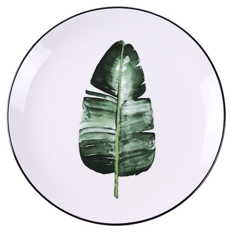 Green Plant Series Ceramic Plate Dinner Dishes Pasta Steak Dessert Circular Fruit Plates Fine Bone China Kitchenware 5