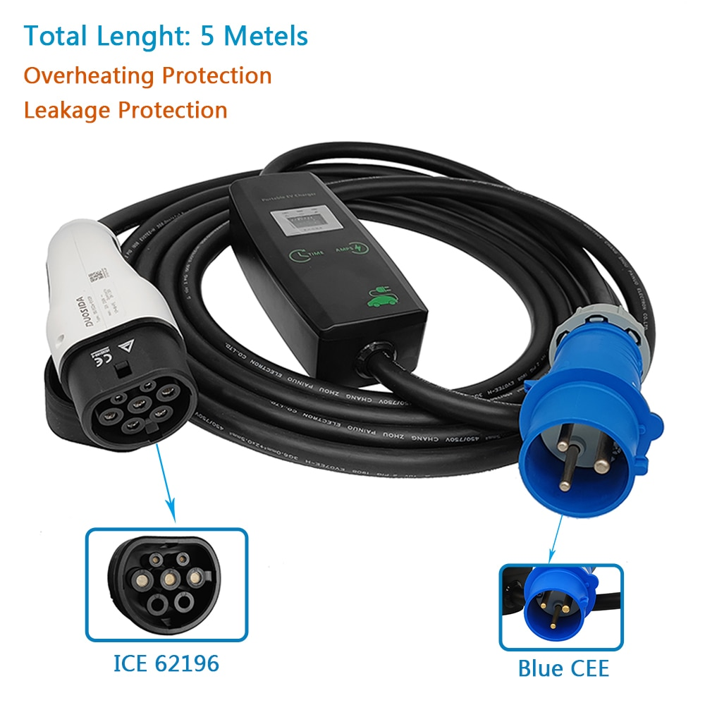 KHONS EV Charger Type 2 IEC 62196-2 Switchable 6/8/10/13/16A for Portable Electric Vehicle CEE Plug 220V-240V Car Charging Cable enlarge