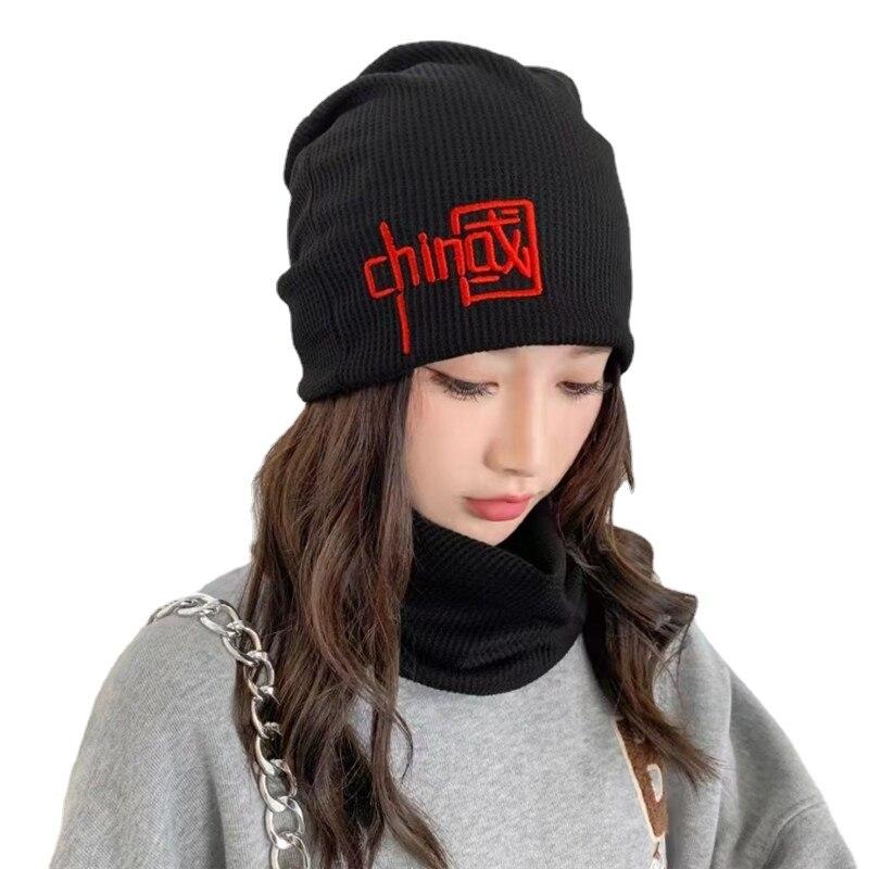Зимние вязаные шарфы двойного назначения унисекс для мужчин и женщин, шапки с китайским принтом, эластичные глушители, детский воротник-кол...