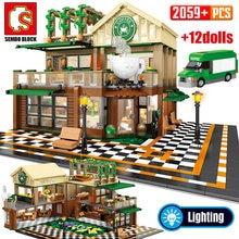 SEMBO 2059Pcs 크리 에이 티브 카페 커피 숍 모델 빌딩 블록 도시 스트리트 뷰 캐주얼 하우스 피규어 아이들을위한 벽돌 장난감