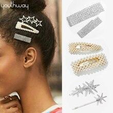 Bling mariée mariages cheveux accessoires rectangulaire brillant Barrettes de cheveux cristal clair strass pavé pince à cheveux