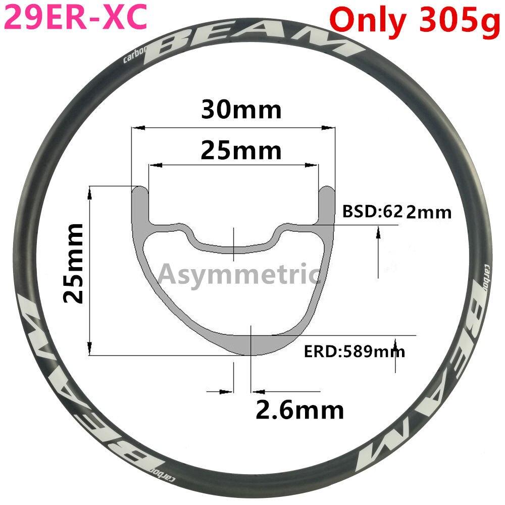 [CBZA29XC30SL] llanta de carbono asimétrico 300g 30mm de ancho 25mm de profundidad 29er llanta de bicicleta mtb sin gancho sin tubo XC 29er carbono mtb llantas
