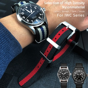 20mm High Quality Nylon Fabric Watch Band Replacement for IWC Pilot Mark 18 Portofin PORTUGIESER Canvas Sports Wrist Strap