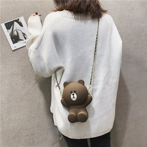 2020 Women Mobile Phone Youth Girls Bear Female Messenger PU Shoulder Bags Crossbody Cute Kids Silica Gel Bags Mini Bear Handbag