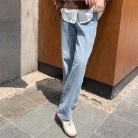 high waist jeans for women slim fashionable casual straight pants