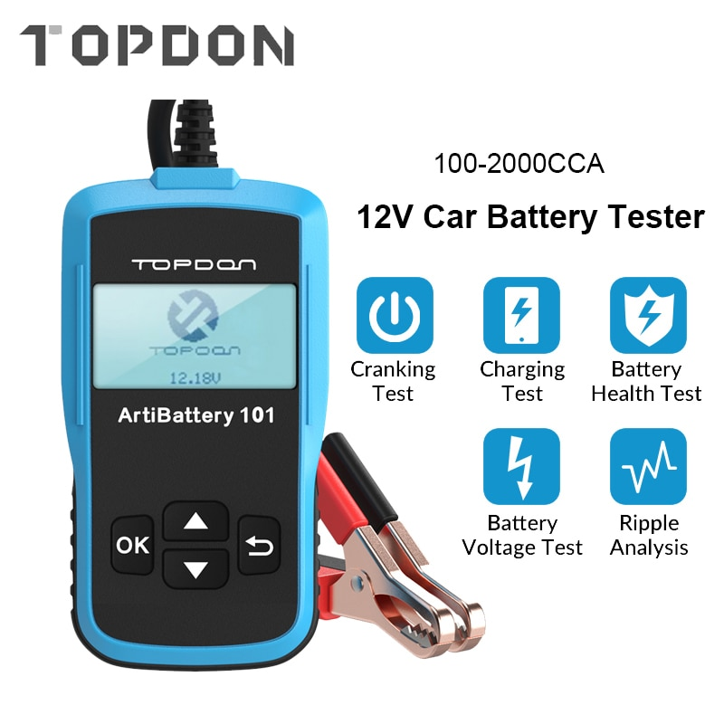all sun high performance digital automotive 12v cca battery tester for cold temperature battery load charging voltage starter TOPDON AB101 Car Battery Tester 12V Voltage Battery Test Automotive Charger Analyzer 2000CCA Car Cranking Charging Circut Tester