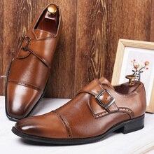 Merkmak Business formel en cuir chaussure bout pointu robe chaussures mode boucle bureau chaussures grande taille mâle fête mariage chaussures