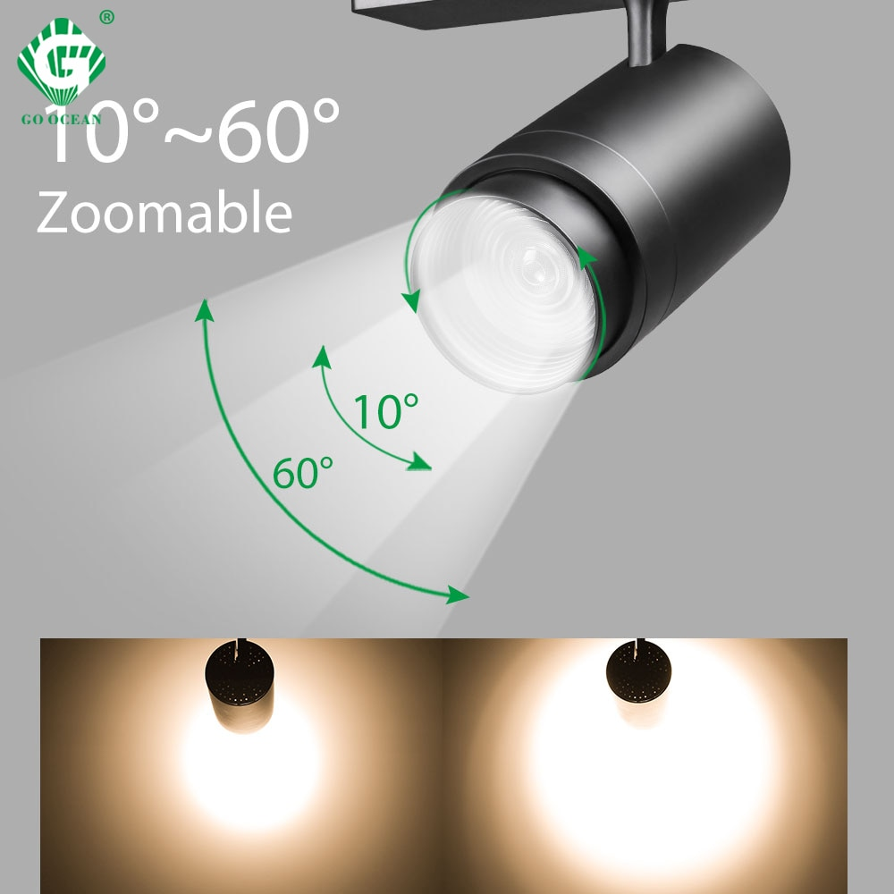 Zoomable 12W 20W 30W LED Track Light 2 3 4 Wire Phase Dimmable Rail Spot Lighting Fixtures Spotlights Ceiling Zoom Lamp
