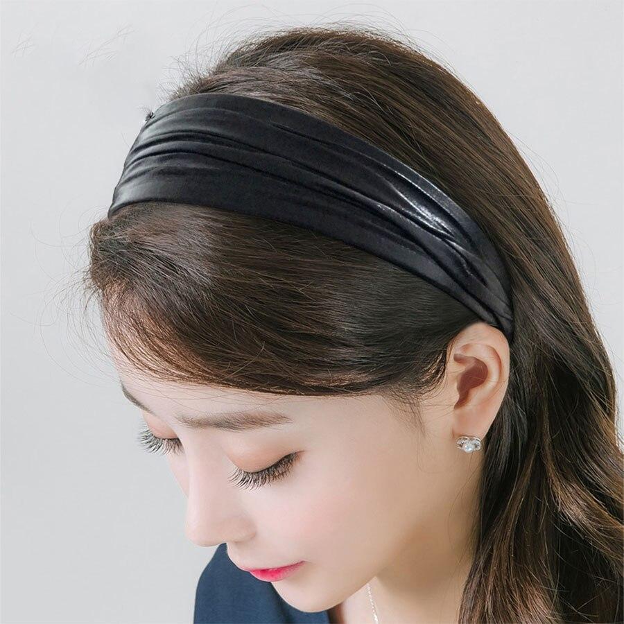 Haimeikang cuero PU moda cabeza aro Color sólido versión coreana accesorios anchos para el cabello dulce Simple señoras bisel ornamentos