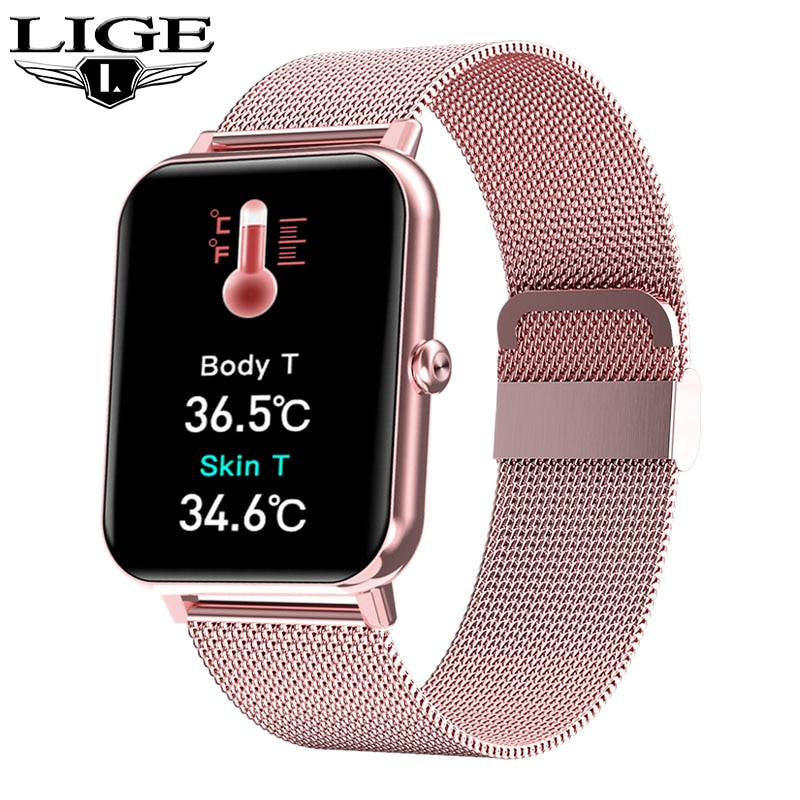 LIGE Women Smart Watch Real-time Weather Forecast Fitness Tracker Watch Heart Rate Sports Ladies Sma