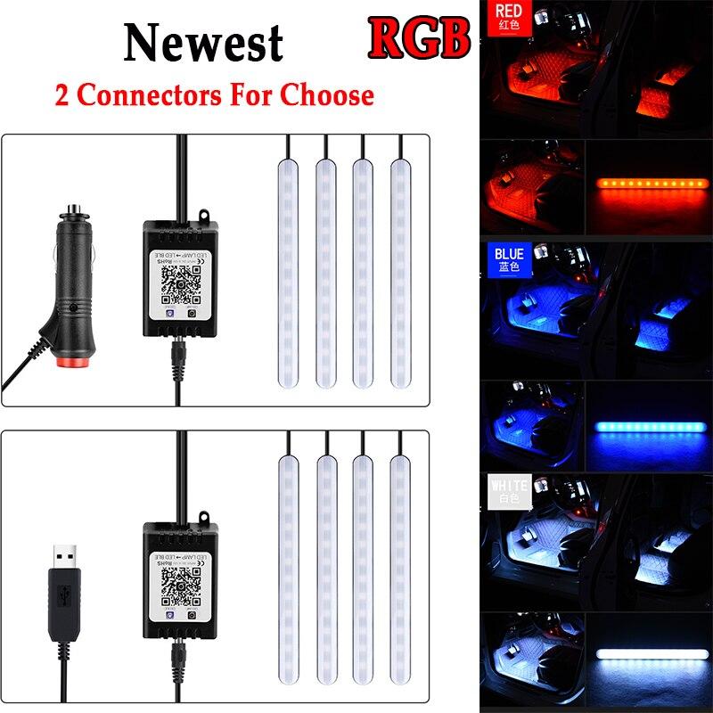 1 Набор, автомобильный Светодиодные ленты светильник приложение Управление RGB Подсветка салона светильник, футболка с принтом