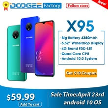 "DOOGEE X95 Android 10 teléfonos móviles 13MP Cámara 6,52 ""Pantalla teléfono móvil MTK6737 2GB 16GB Dual SIM 4350mAh 4G-LTE smartphone"