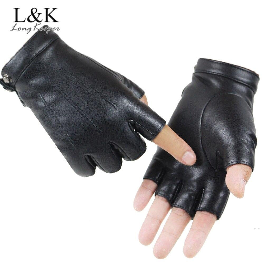 LongKeeper-Guantes de cuero sintético para hombre y mujer, Manoplas sin dedos para...