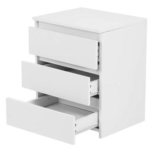 3layer Minimalist Modern Solid Wood Nightstands Multi-layer Large Capacity Bedroom Storage Sundries Cabinet White Bedside Table