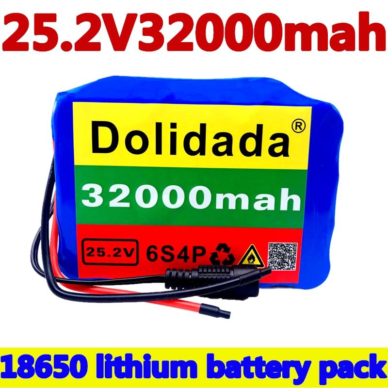 6s4p 24 فولت 32Ah 18650 بطارية حزمة بطارية أيون الليثيوم 25.2 فولت 32000 مللي أمبير دراجة الدراجة أدوات السلطة حزمة البطارية مع BMS
