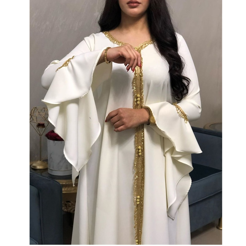 جلابية-فستان قفطان عربي أبيض للنساء ، جلابة فضفاضة مطرزة ، أزياء إسلامية ، دبي ، تركيا