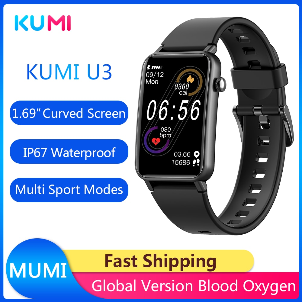 New Arrivial Original KUMI U3 Smart Watch 1.57inch 200x320 Bluetooth 5.0 IP68 Smartwatch Women Fashi