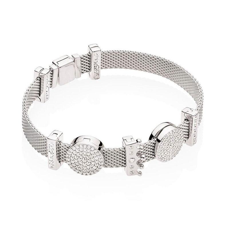Pulsera Original de Plata de Ley 925 Reflexions of Love Set Clip charms pulseras mujeres Charm Diy joyería de moda