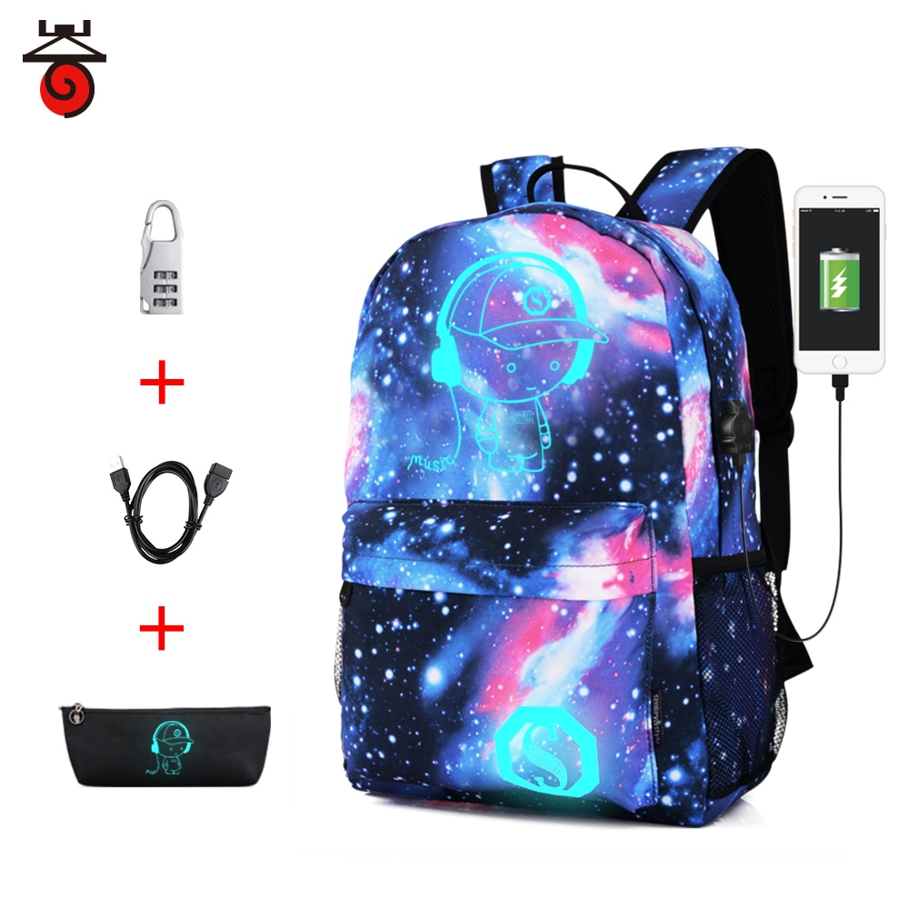 Luminous School Bag Backpack for Teens Girls Boys Waterproof Backpack with USB Charger Port and Lock